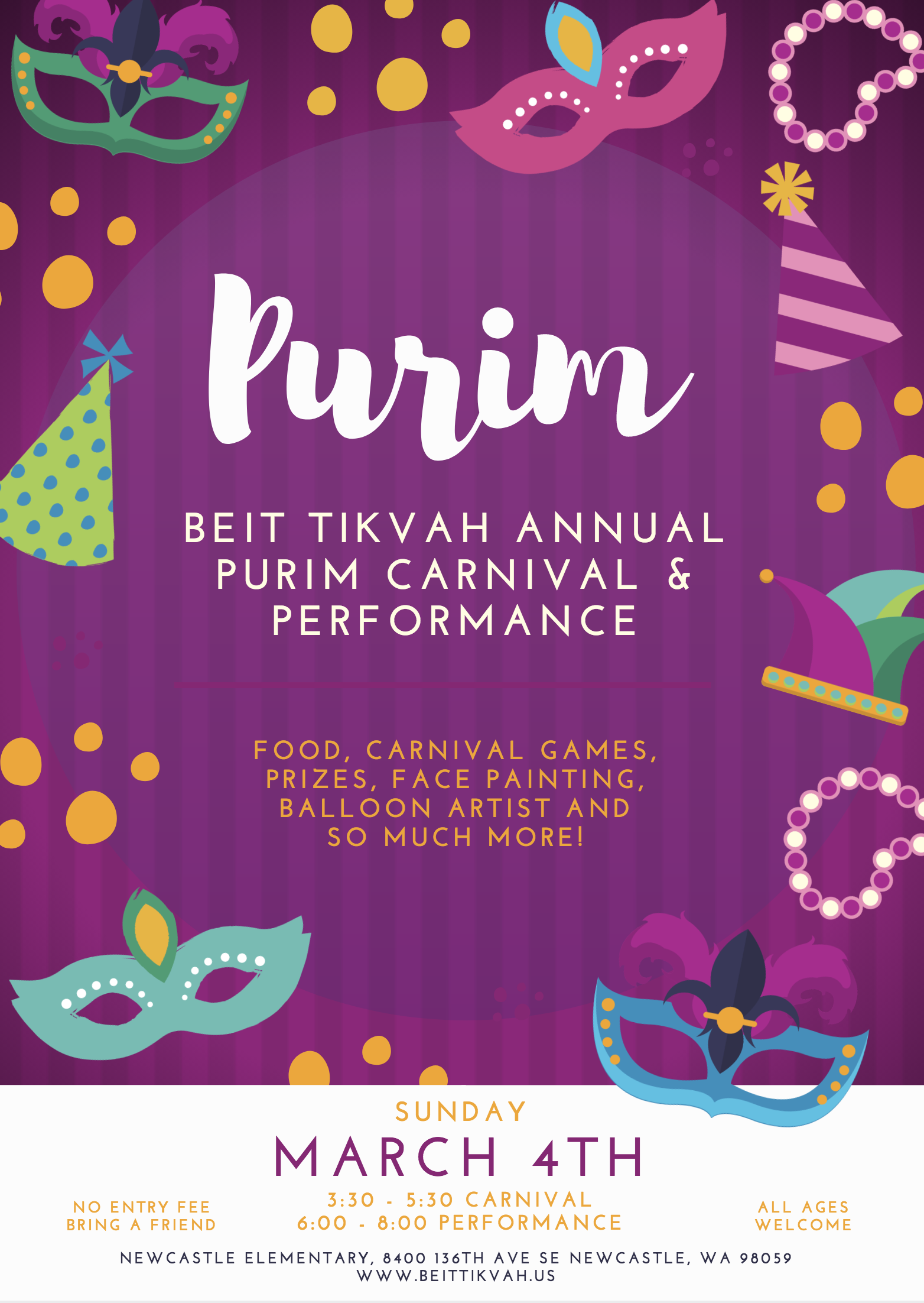 poster advertising Purim Carnival 2018